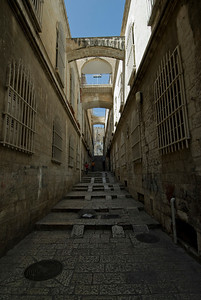 Empty and narrow alley in Jerusalem, Israel