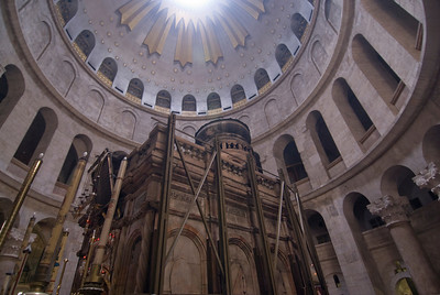 View of the dome inside Church of the Holy Sepulchre in Jerusalem