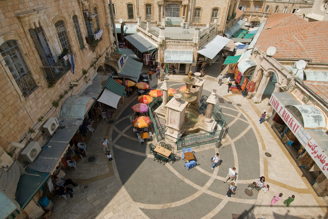 Aerial view of the Fountain in the square Muristan in Jerusalem, Israel