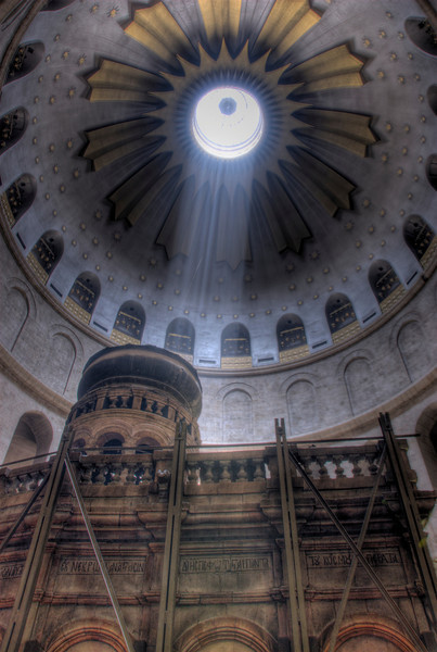 Beam of light coming from dome of Church of the Holy Sepulchre in Jerusalem, Israel