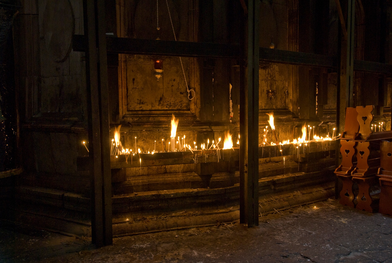 Candles lit at the Church of the Holy Sepulchre in Jerusalem, Israel