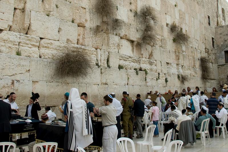 Men gathered near the Temple Mount in Jerusalem, Israel