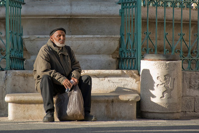 Man sitting on a bench in Jerusalem, Israel