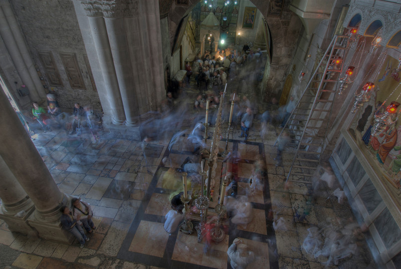 Inside the Church of the Holy Sepulchre in Jerusalem, Israel