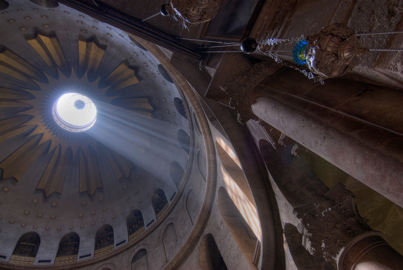 Light beam through dome in Church of the Holy Sepulchre in Jerusalem, Israel