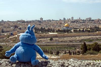 Skull and the skyline of Jerusalem in Israel