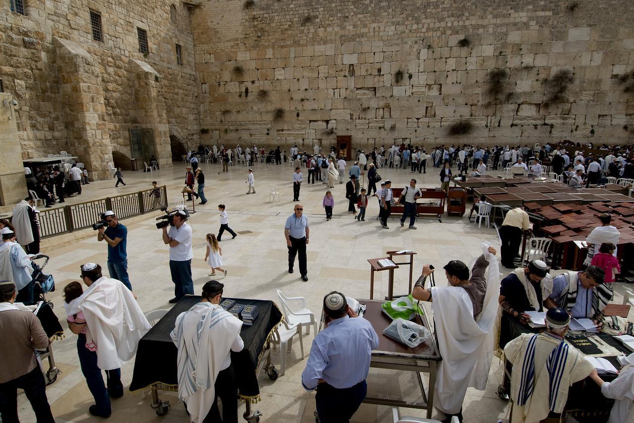 Worshippers gathered near Western Wall in Jerusalem, Israel