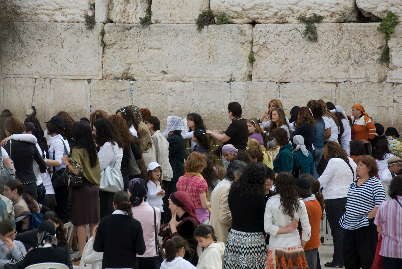 People gathered near the Western Wall in Jerusalem, Israel