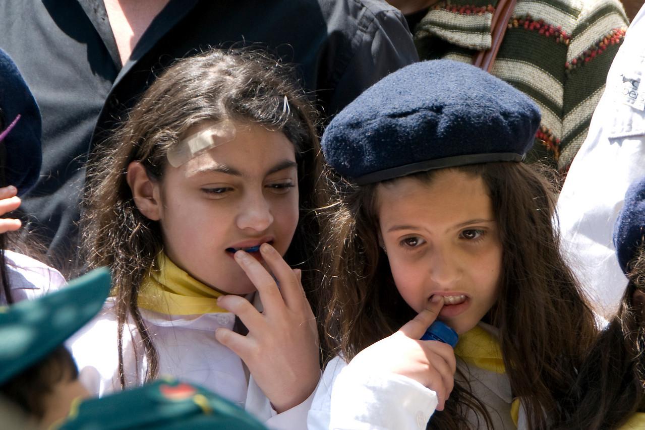 Girls attending the Good Friday celebration in Jerusalem