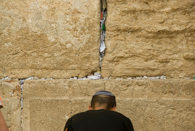 A man praying at the Western Wall - Jerusalem