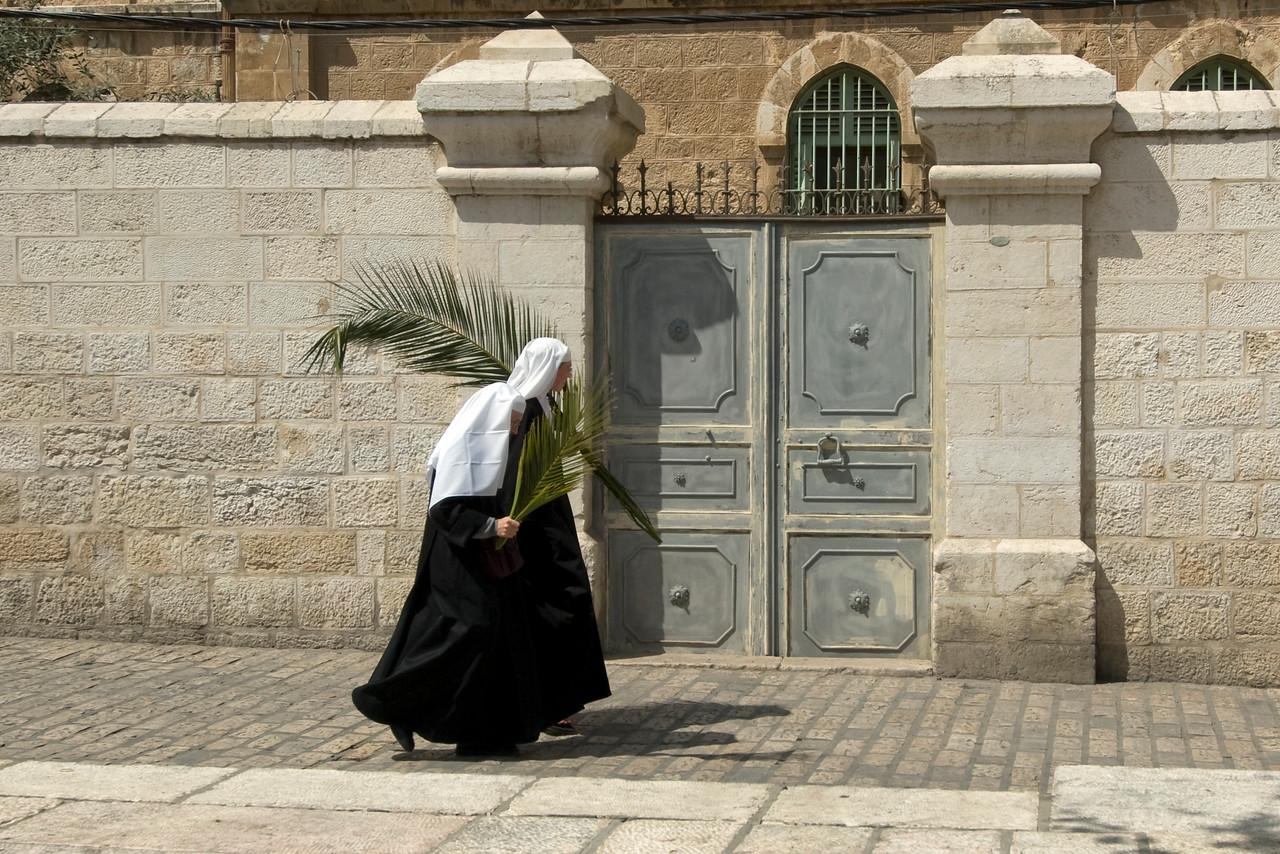 Woman walking near the Temple Mount in Jerusalem, Israel