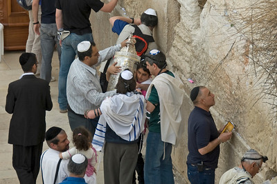 Worshippers at the Western Wall in Jerusalem, Israel