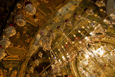Crucifixion site at the Church of the Holy Sepulchre in Jerusalem, Israel