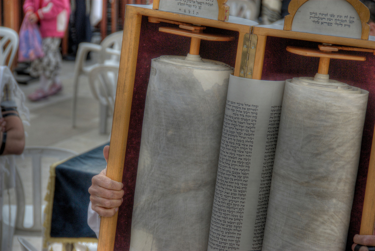 Scroll during Good Friday celebration in Jerusalem