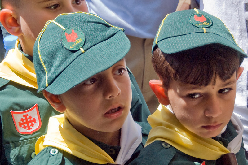 Boy scouts during Good Friday in Jerusalem, Israel