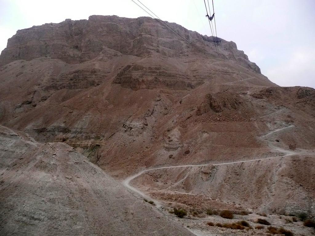 Masada from base,  showing walking trail up Masada, Israel ,2007
