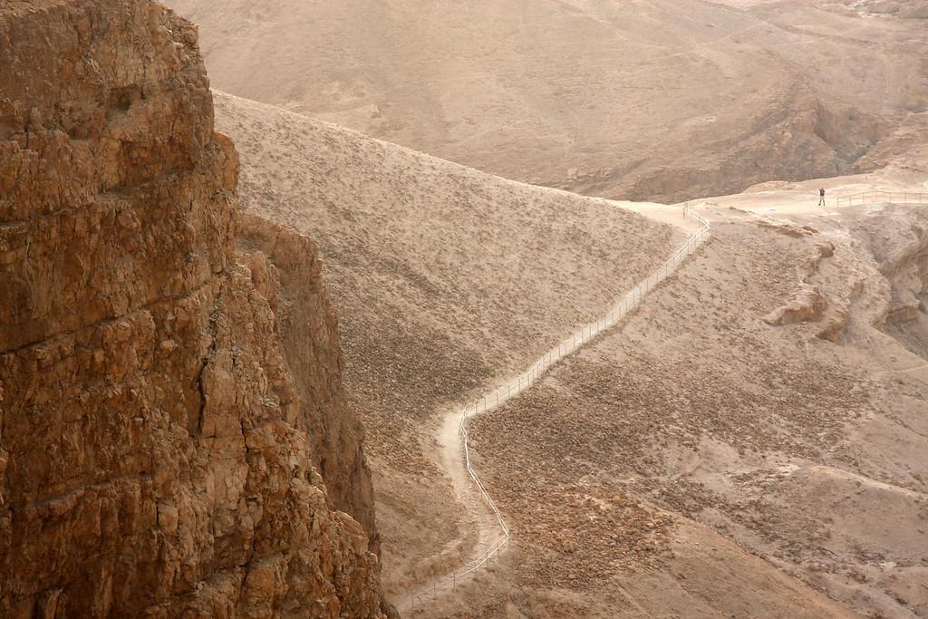 Roman earthen ramp up west side, used to break the siege. Masada, Israel ,2007