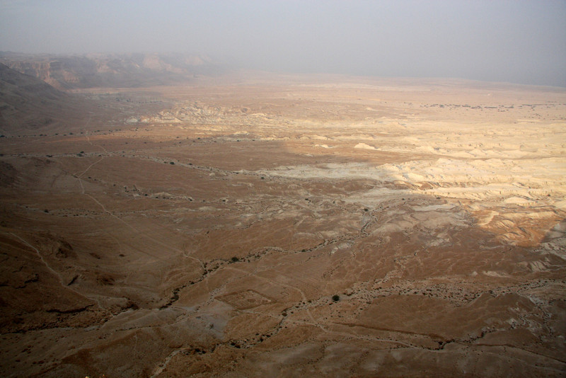 Another visible Roman camp (square) and view to the Dead Sea. Masada, Israel ,2007