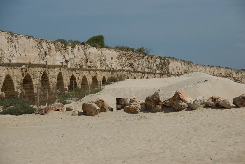 The ancient Roman aqueduct in the Old CIty of Acre, Israel