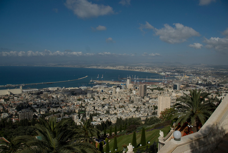Aerial view of the skyline and port in Haifa, Israel