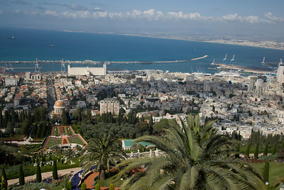 Aerial view of skyline and port in Haifa, Israel