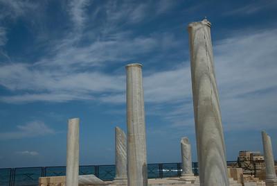 Columns at the Ruins of Caesarea Maritima in Israel