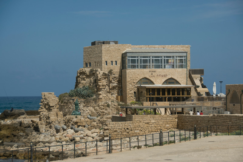 Sushi bar and cafe amidst ancient ruins in Israel