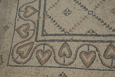 Ancient art mosaic in the ruins of Caesaria Maritima, Israel