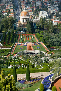 Baha'i Gardens and the Golden Dome in Haifa, Israel