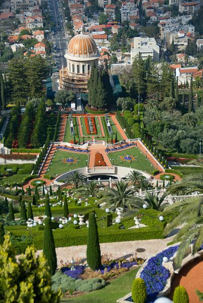 Baha'i Gardens and the Golden Dome in Haifa, Israel
