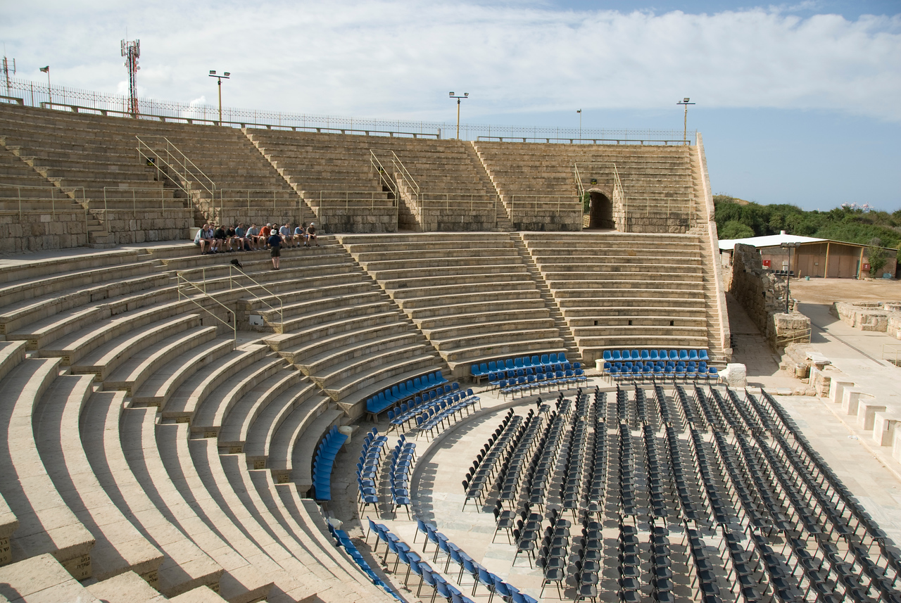 Ancient Roman amphitheater in the Ruins of Caesaria Maritima in Israel