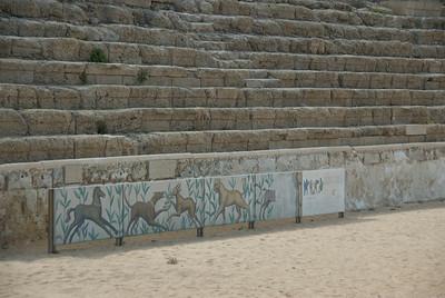 Ancient Roman Amphitheater at the Ruins of Caesaria Maritima in Israel