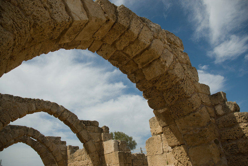 Crusader and Roman ruins at the ancient city of Caesarea, Israel