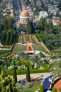 Baha'i Gardens and Golden Dome in Haifa, Israel