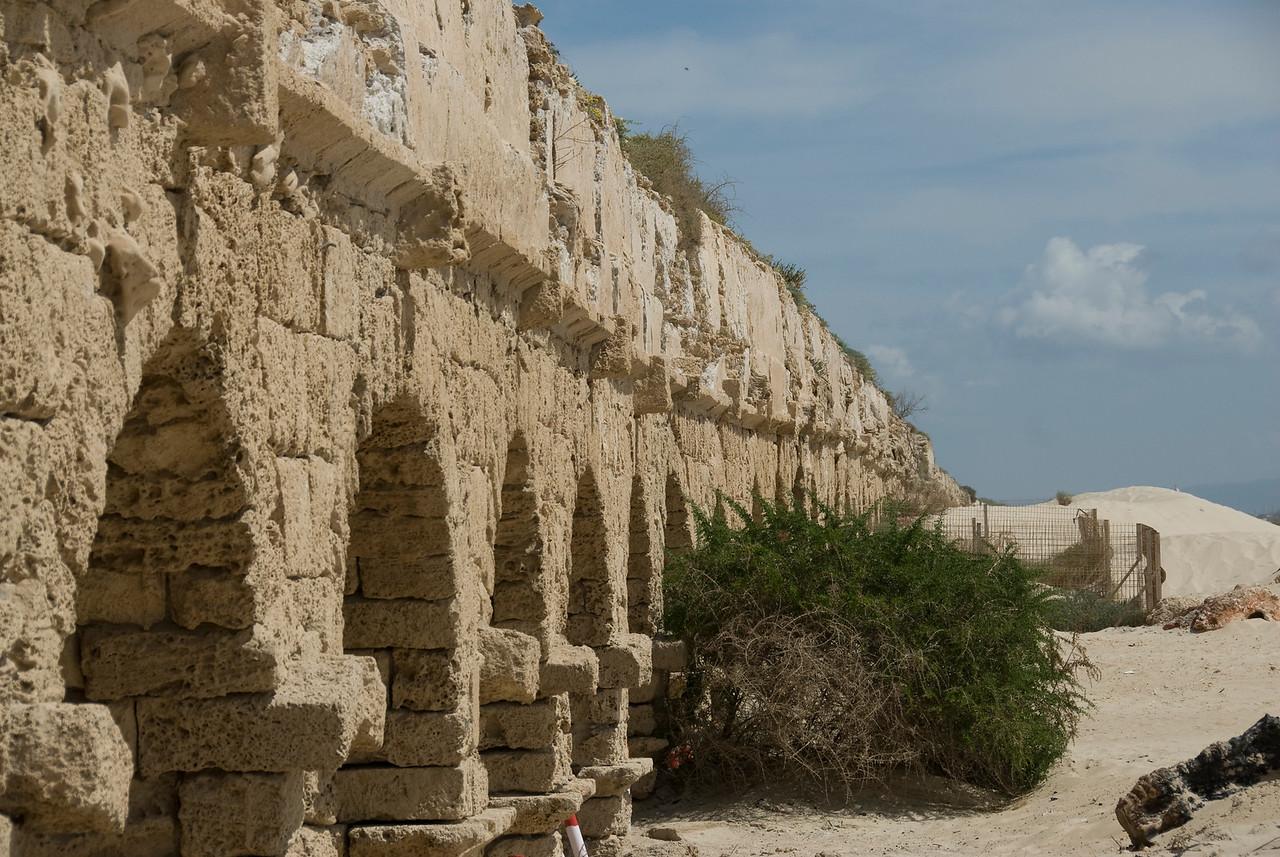 Ancient Roman aqueduct at Caesarea, Israel