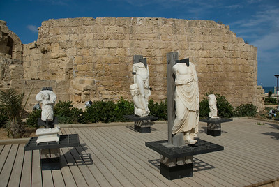 Headless marble statues in Ruins of Caesaria Maritima in Israel