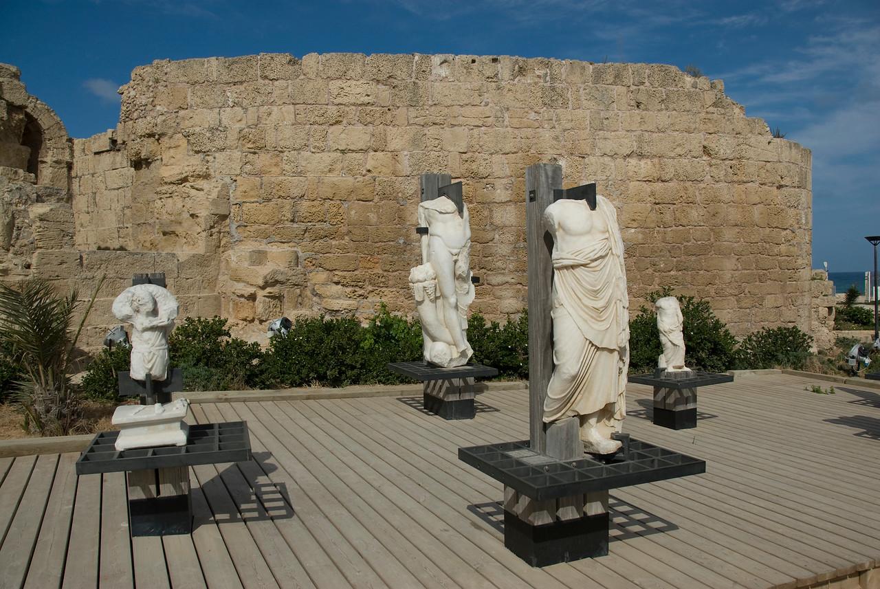 Headless marble statues in Ruins of Caesaria Maritima in Israel