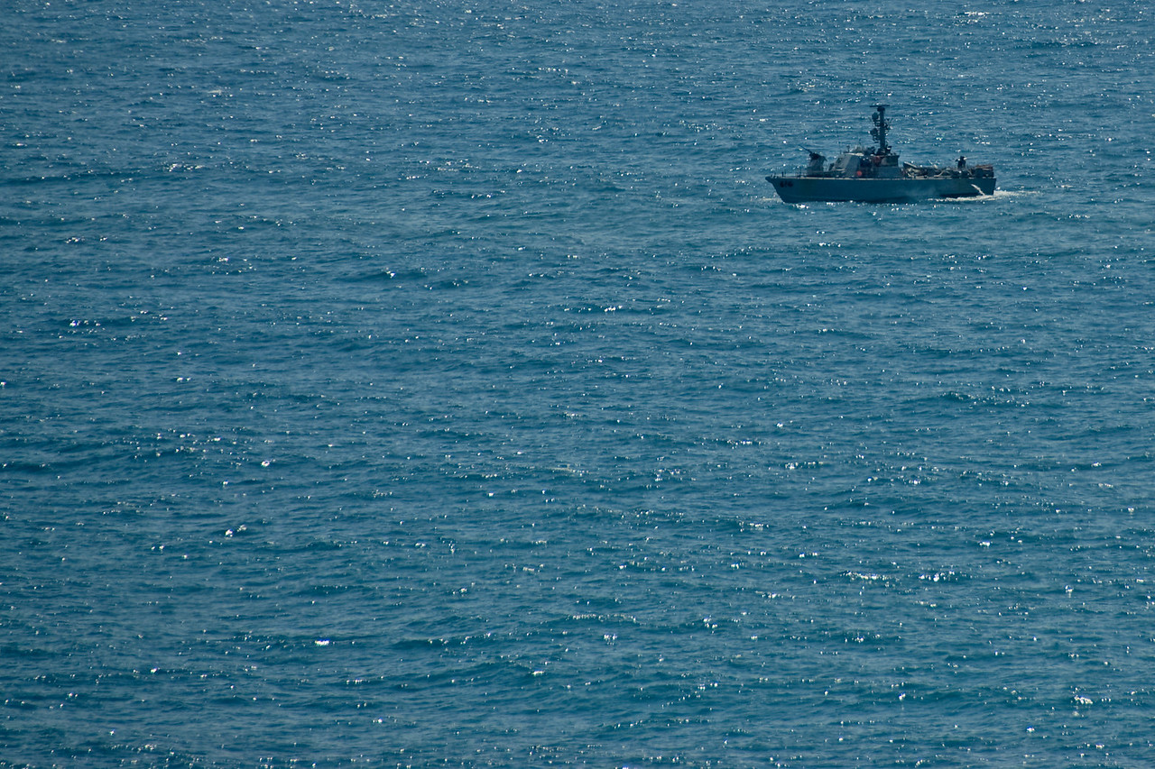 Boat on the sea in the Mediterranean coast of Israel
