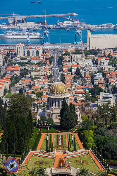 The Bahai Temple and Their Magnificent Gardens in Haifa, Israel with the Port of Haifa in the Background (©simon@myeclecticimages.com)
