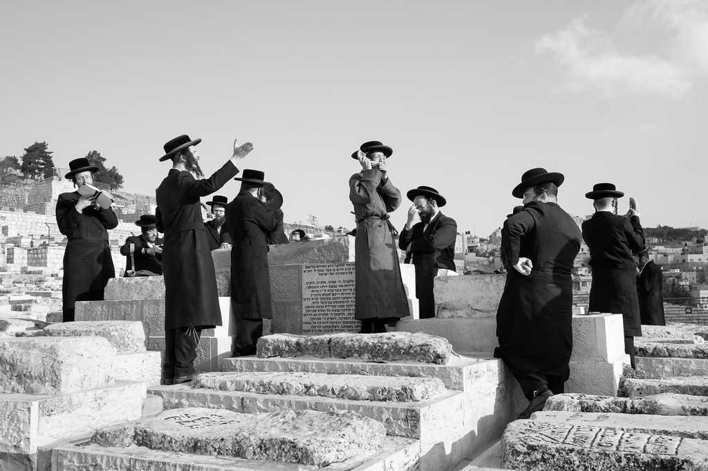 Orthodox Jews performing a ritual at the Tomb of Rabbi Chaim Ben Attar - Or Hachaim HaKadosh on the anniversery of his death
