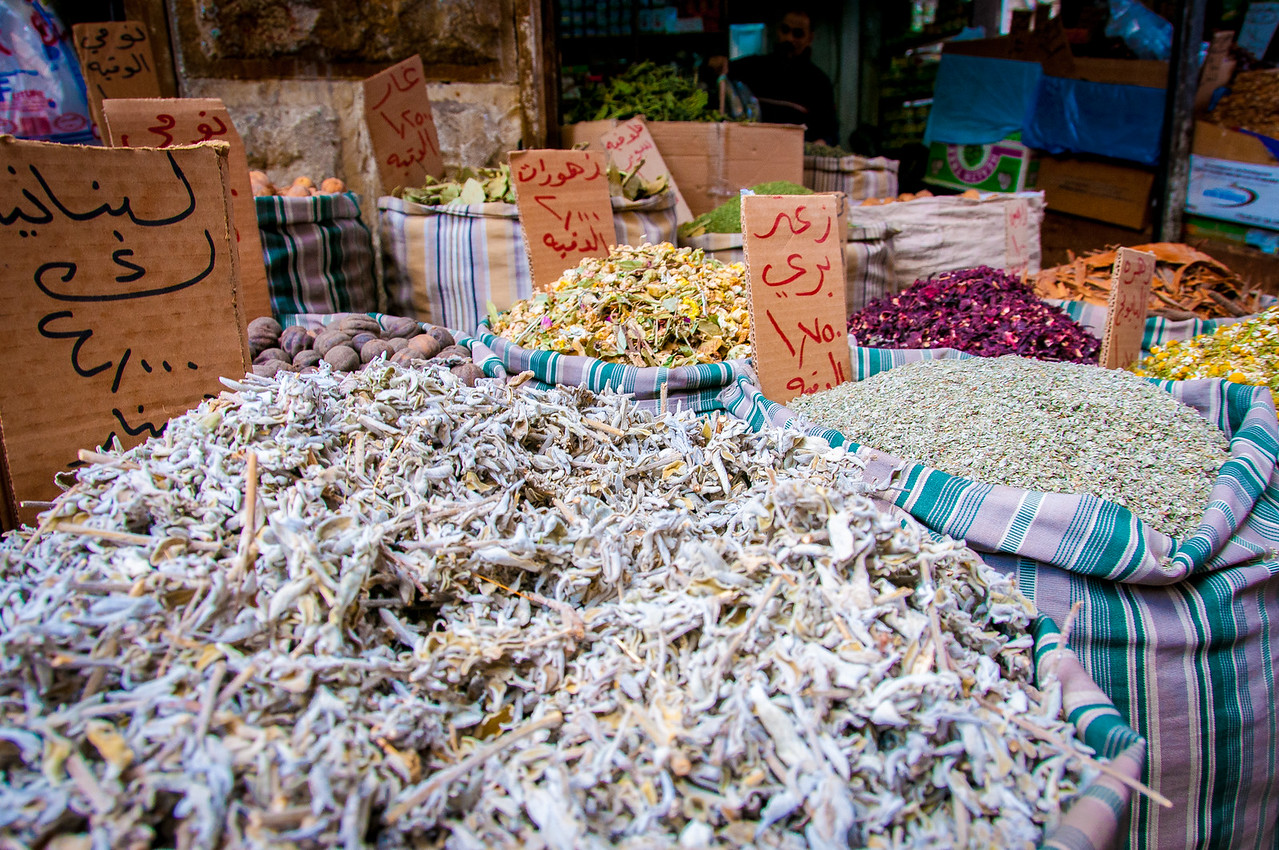 Goods for sale in a market in Amman, Jordan