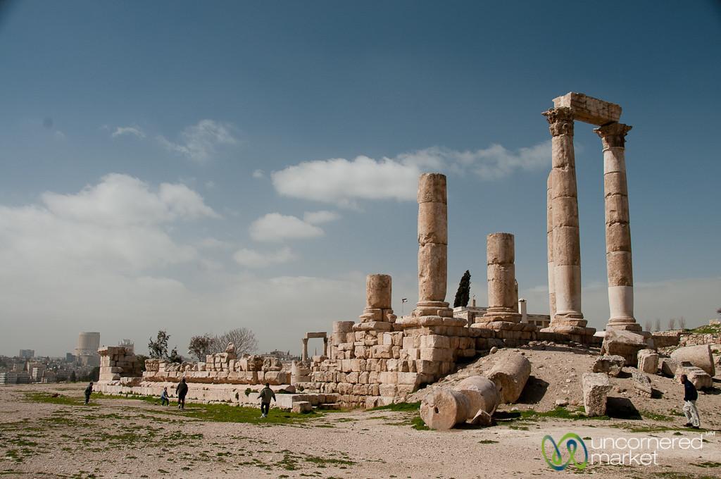Soccer by the Temple of Hercules at the Citadel - Amman, Jordan