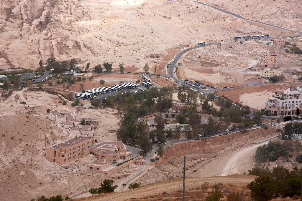 Bus parking area at Petra (Wadi Musa) with local hotels (Petra Moon Hotel is shown on right hand side around a 2 o'clock orientation.)