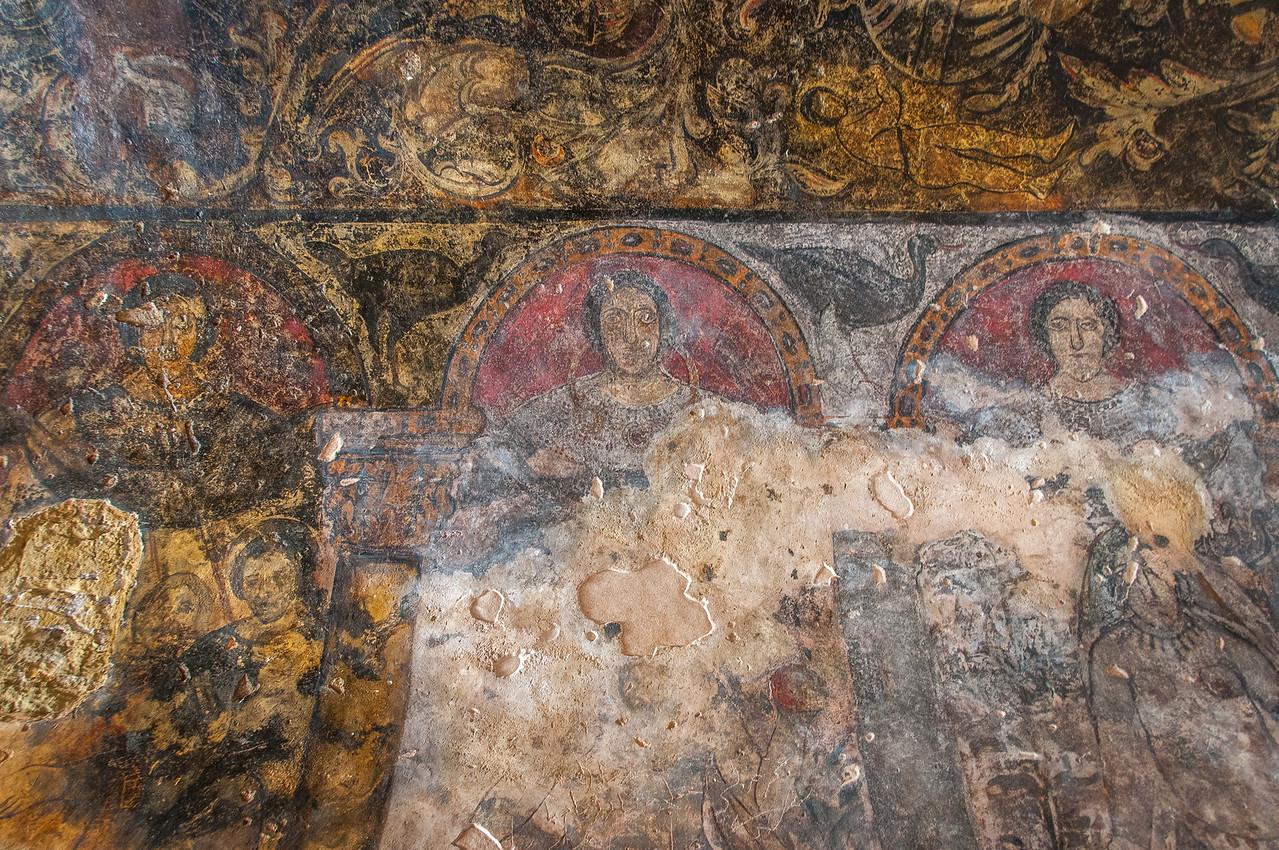 Wall painting inside Qasr Kharana in Amman, Jordan