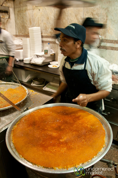 Large Trays of Knafeh at Habiba - Jordan
