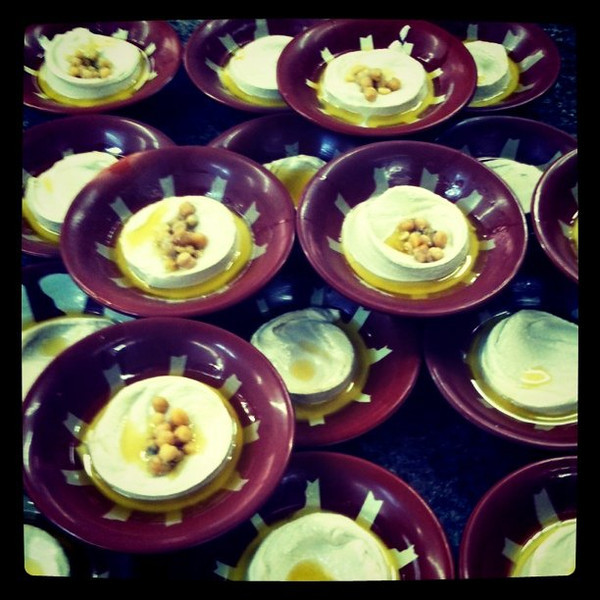 Endless bowls of hummus at Hashem's in Amman, Jordan