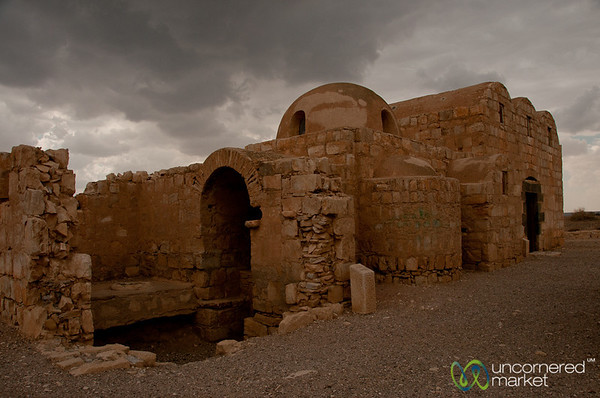 View of Umayyad palace Qasr Amra near Azraq, Jordan