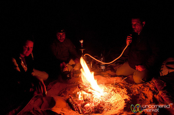 Fire and Shisha in the Desert at Night - Wadi Rum, Jordan