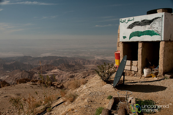 Little Cafe With a View...and Satellite TV - En Route to Tafila, Jordan