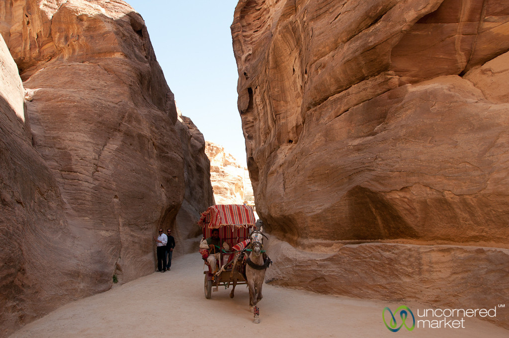 Horse Carriage Running through the Siq at Petra, Jordan